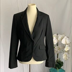 Black pin strip fitted suit blazer